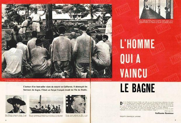 """""""L'homme qui a vaincu le bagne"""" - Paris Match n°522, 11 avril 1959. Photo principale : """"Ce document atroce s'était ajouté, à l'époque, au dossier contre le bagne. Il montre l'exécution d'un forçat en présence de ses camarades. Ils assistent à la scène à genoux et tête nue. C'est l'un d'eux qui sert d'aide-bourreau""""."""