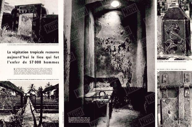 """""""La végétation tropicale recouvre aujourd'hui le lieu qui fut l'enfer de 57 000 hommes : La création du bagne de la Guyane remonte à 1854 : il fut supprimé par décret en 1938, mais les derniers forçats ne rentrèrent en France que bien après la fin de la guerre. Aujourd'hui l'herbe a envahi le camp et la végétation luxuriante des tropiques a recouvert de son ombre les bâtiments effondrés. À sa disparition le pénitencier avait reçu dans ses cellules humides 57 000 condamnés."""" - Paris Match n°522, 11 avril 1959."""