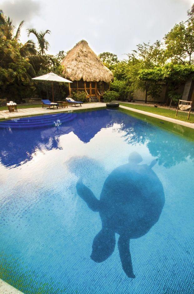 C'est Roman, le frère de Sofia, qui a dessiné le « bungalow lagon » avec sa tortue de faïence au fond de la piscine.