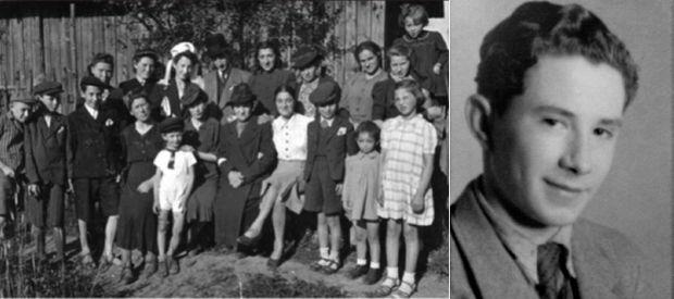 A gauche, la dernière photo de la famille Lesser, prise en 1941 : seulement trois personnes ont survécu. A droite, Ben Lesser juste après la guerre.