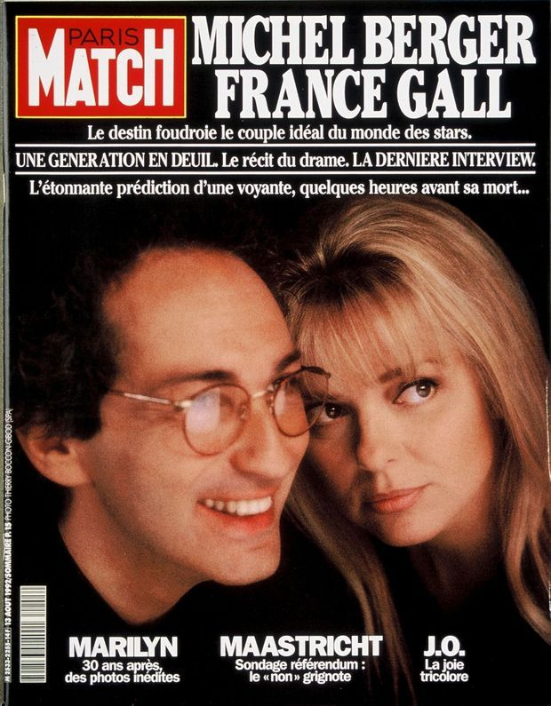 La disparition de Michel Berger, ici avec France Gall en couverture de Paris Match n°2255, daté du 13 août 1992.