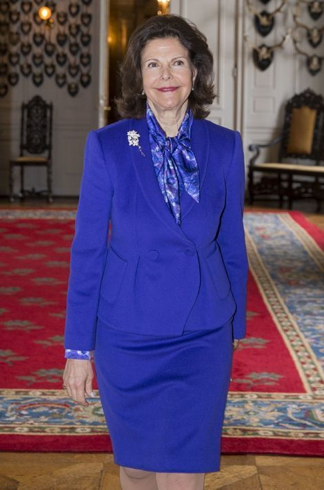 La reine Silvia de Suède au Palais royal à Stockholm, le 8 avril 2016