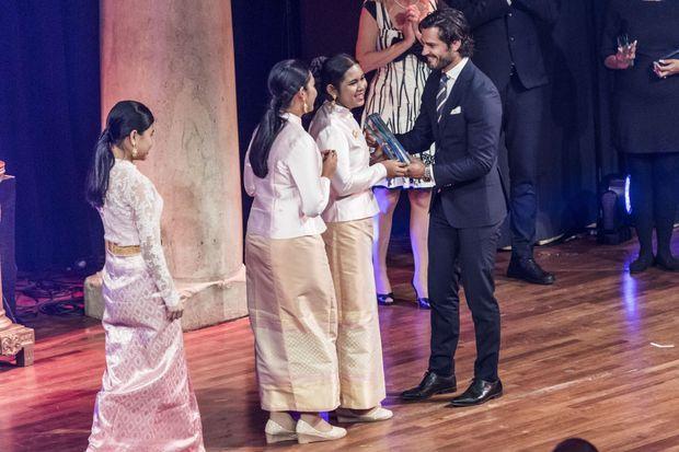 Le prince Carl Philip de Suède remet le Stockholm Junior Water Prize, le 30 août 2016