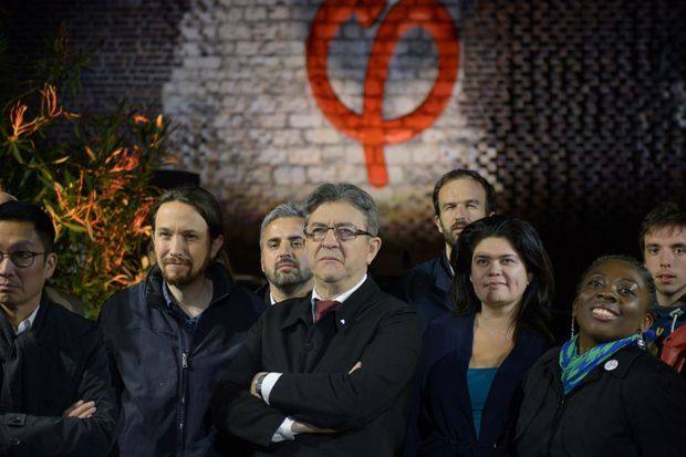 Jean-Luc Mélenchon lors de sa rencontre avec le leader du parti Podemos Pablo Iglesias à Paris le 21 avril
