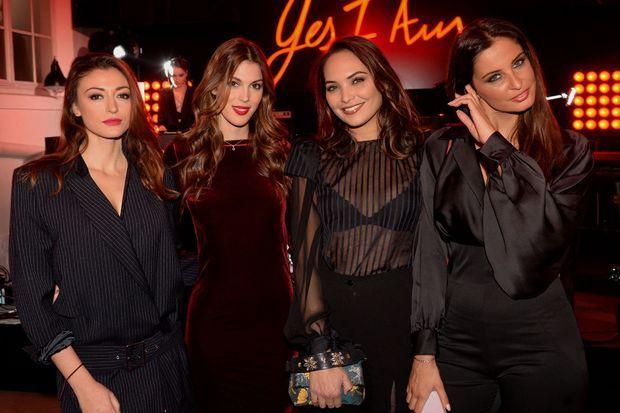 Rachel Legrain-Trapani, Iris Mittenaere, Valérie Bègue et Malika Ménard lors d'une soirée à Paris en 2018