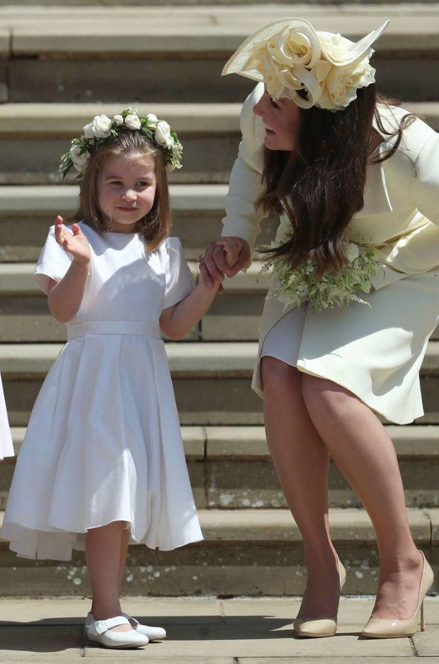 Kate Middleton et la princesse Charlotte le jour du mariage de Meghan et Harry à Windsor en mai 2018