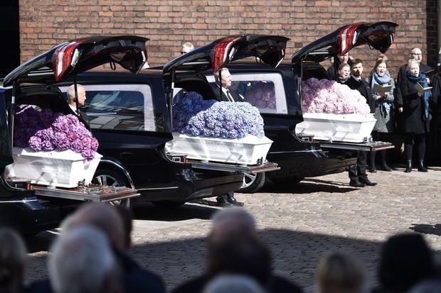 Obsèques des trois enfants de Anders Holch Povlsen à Aarhus, le 4 mai 2019