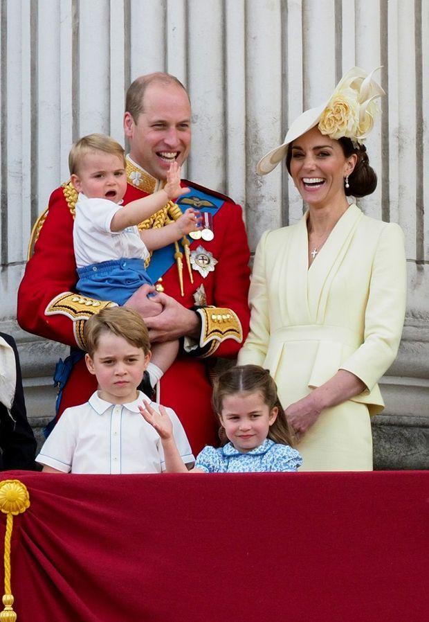 Kate et William avec leurs enfants George, Charlotte et Louis lors de la parade Trooping the Colour le 8 juin 2019