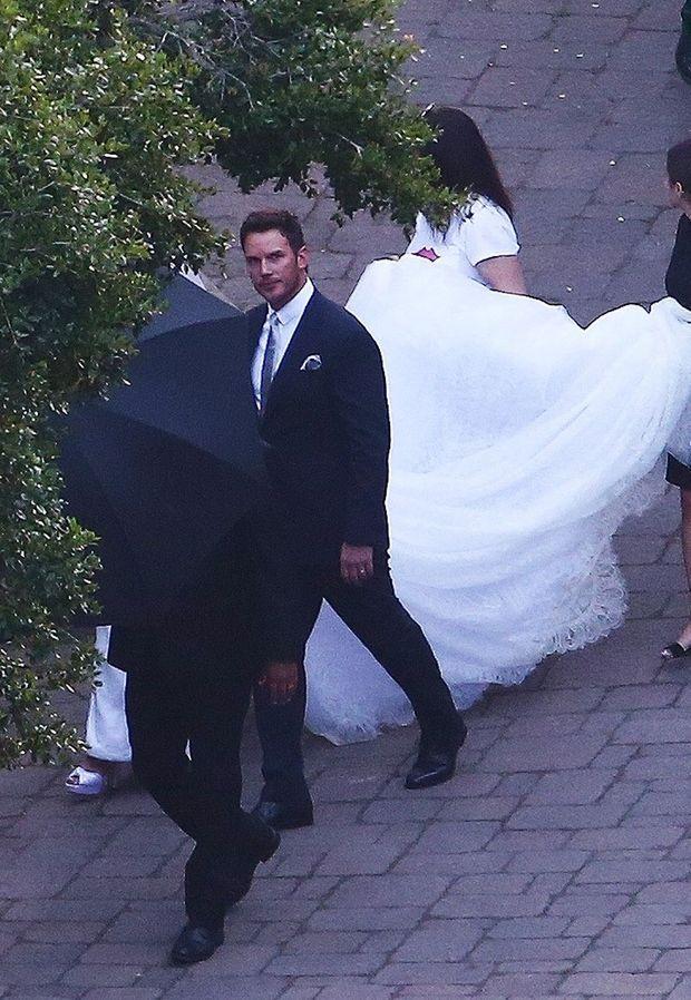 Katherine Schwarzenegger et Chris Pratt arrivent à la réception de leur mariage le 8 juin 2019 à Montecito