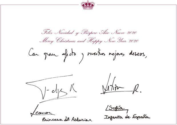 Intérieur de la carte de voeux du roi Felipe VI d'Espagne, de la reine Letizia et de leurs filles dévoilée en décembre 2019