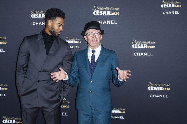 Djebril Zonga et son parrain Jacques Audiard au dîner des révélations des César à Paris en janvier 2020