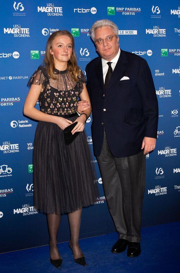 """La princesse Louise avec son père le prince Laurent de Belgique à la cérémonie des """"Magritte du Cinéma"""" à Bruxelles, le 1er février 2020"""