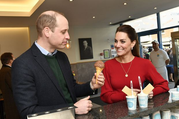 William et Kate chez Joe's Ice Cream Parlour à Swansea le 3 février 2020