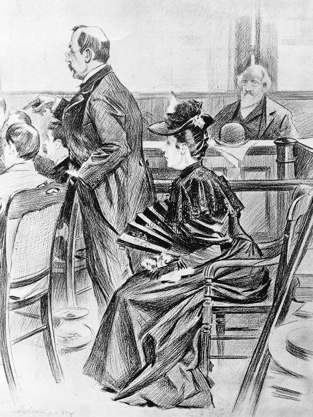 Lizzie Borden lors de son procès, en 1893.