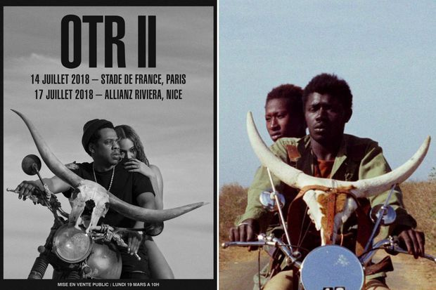 """À gauche : l'affiche de la tournée """"On the run II"""", à droite : un extrait du film """"Touki Bouki"""""""
