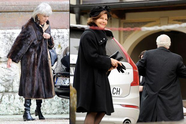 La princesse Birgitta (à gauche) et la reine Silvia de Suède (à droite) aux obsèques du prince Johann Georg von Hohenzollern à Sigmaringen, le 12 mars 2016