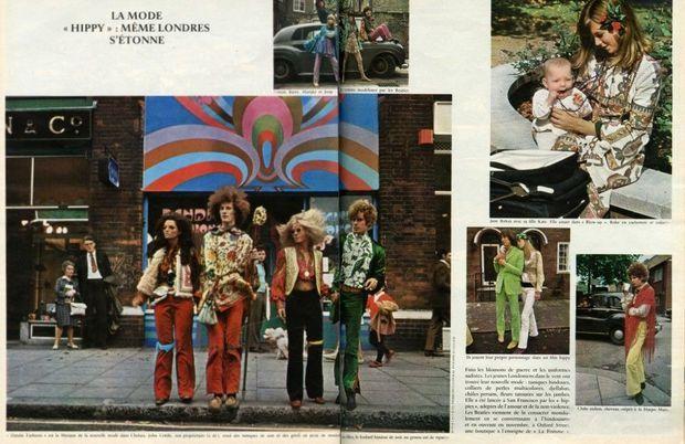 Jane Birkin et sa fille Kate (en haut à droite) dans un reportage consacré à la mode hippie, dans Paris Match n°966, daté du 14 octobre 1967.