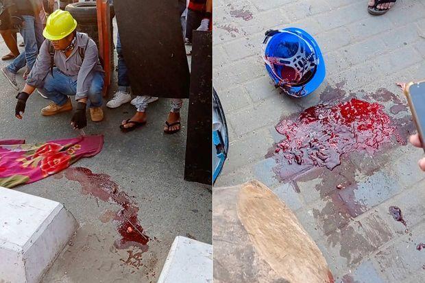 Traces d'une violente répression de la manifestation à Rangoun, le 3 mars 2021.