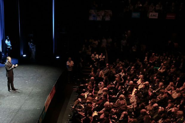 Emmanuel Macron lundi soir à Bobino.