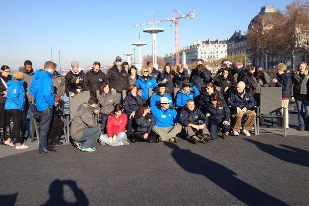 Le groupe de la croisière Boston Heroes à Lyon, la semaine dernière.