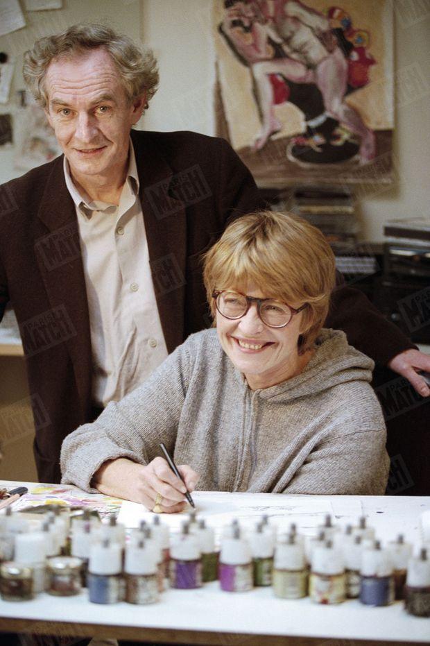 Claire Bretécher avec son confrère René Petillon en novembre 1998.