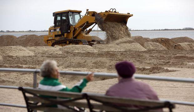 Brighton Beach Bulldozer Sandy Frankenstorm New York-