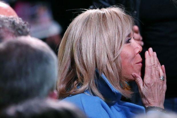 Brigitte Macron lors de la présentation du projet d'Emmanuel Macron, jeudi.