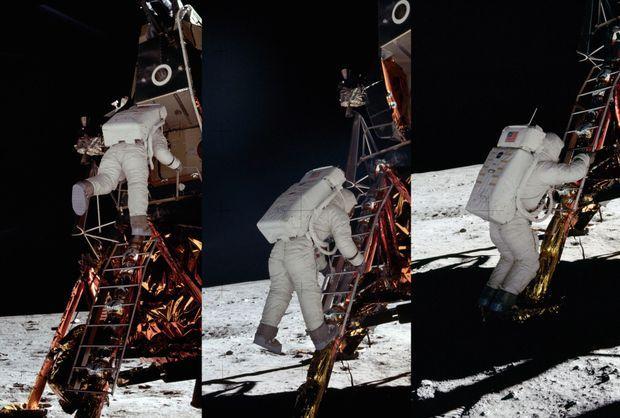 Buzz Aldrin est le deuxième homme à marcher sur la Lune. Il est photographié par Neil Armstrong qui est descendu du LEM, le module lunaire Eagle, une demi-heure plus tôt.