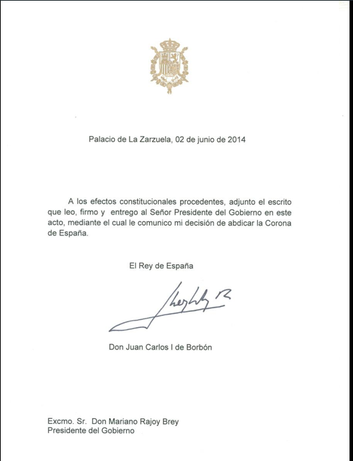 La lettre officielle de l'abdication