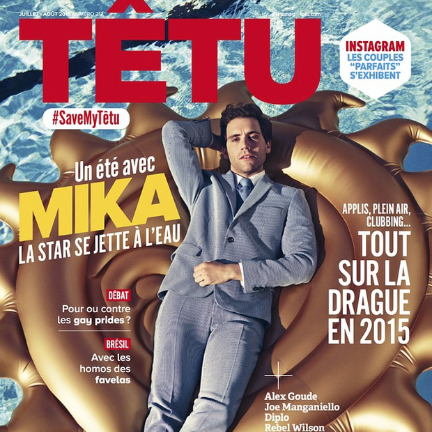 """Mika en couverture du dernier numéro de """"Têtu"""""""