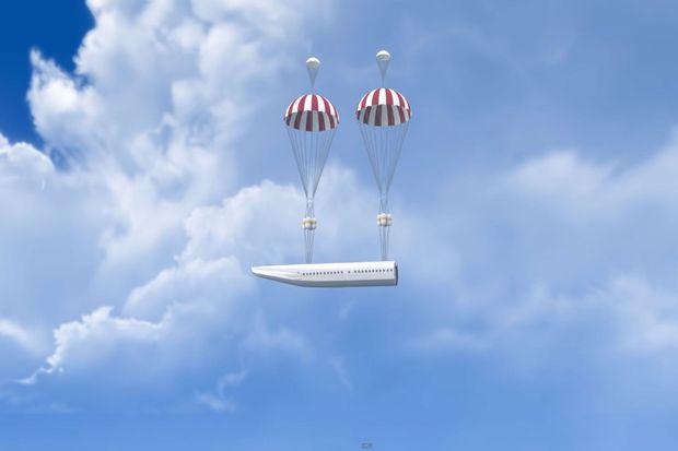 La cabine est doté de parachutes pour éviter un éventuel crash.