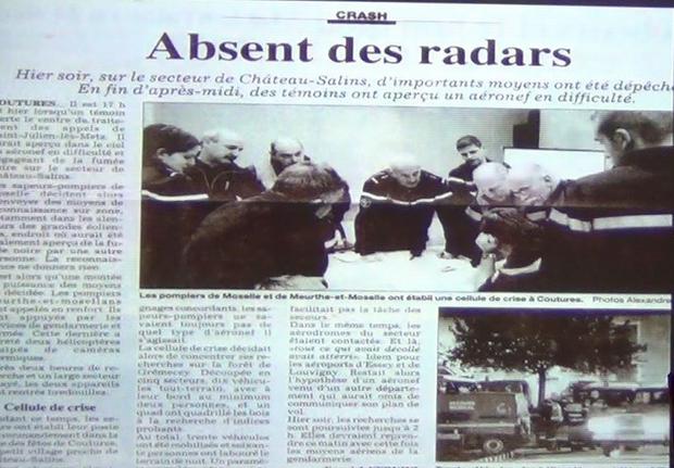 Un crash sans avion signalé à Château-Salins en 2009.