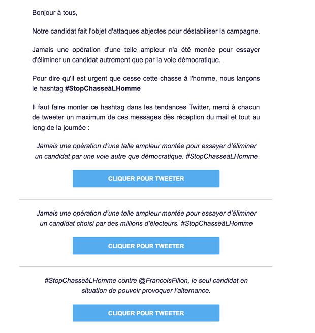 Capture d'écran d'un mail envoyé aux militants de François Fillon