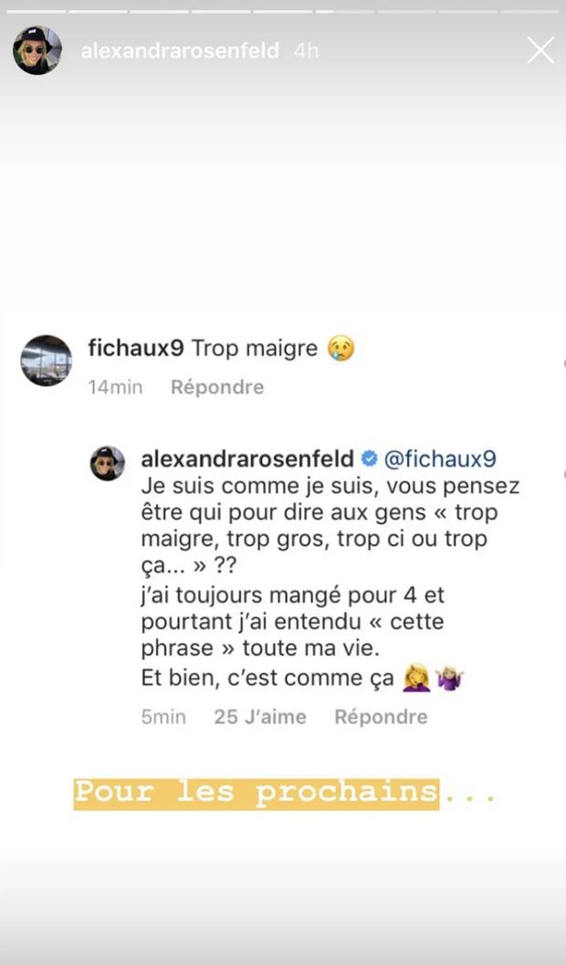 """Alexandra Rosenfeld répond à un internaute qui la juge """"trop maigre"""". Mai 2019."""