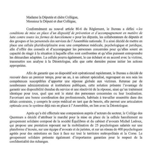 Le document de l'Assemblée national transmis aux députés.