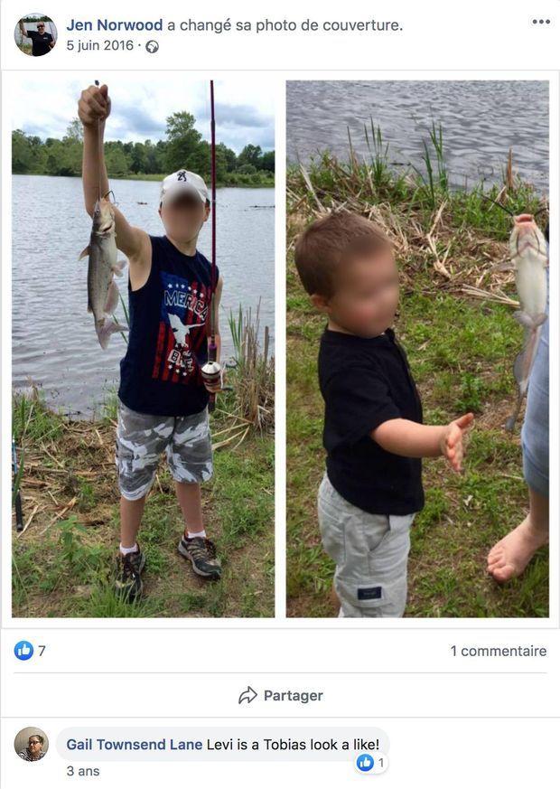 Publication Facebook de la maman. À gauche, Levi, à droite, son petit frère.