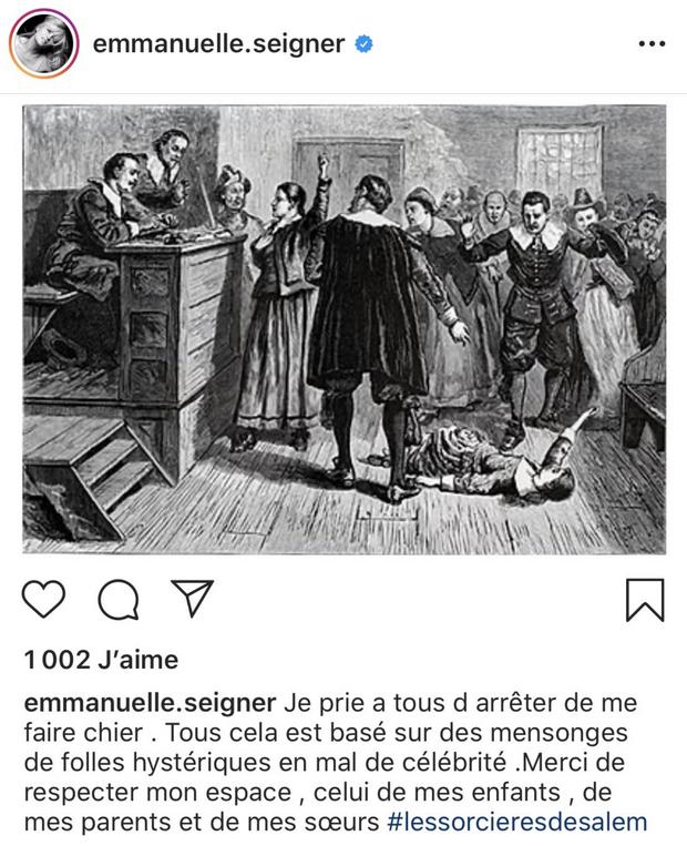 Publication d'Emmanuelle Seigner sur Instagram le 29 février 2020