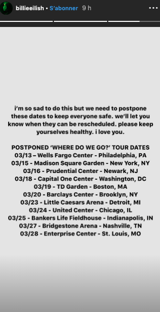 Billie Eilish annonce le report des dates de sa tournée