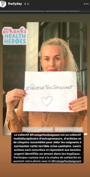 Laeticia Hallyday soutient le collectif #ProtègeTonSoignant le 1er avril 2020