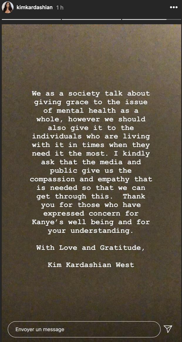 Kim Kardashian s'exprime sur la santé mentale de Kanye West le 22 juillet 2020