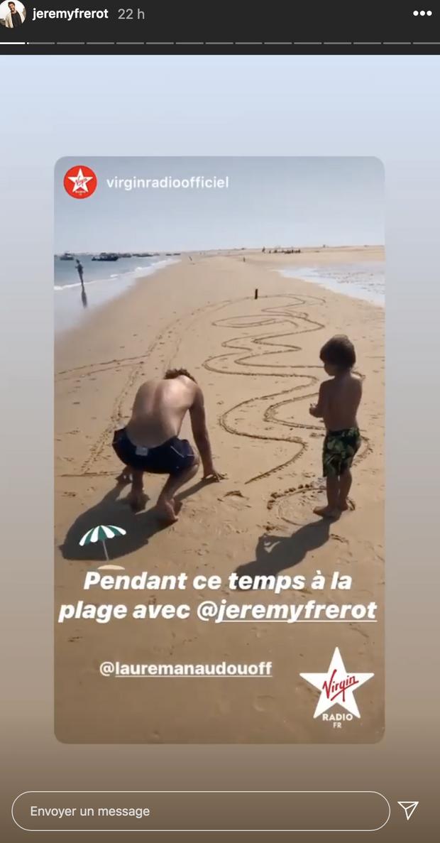 Jérémy Frérot et son fils Lou en vacances au Cap Ferret en juillet 2020