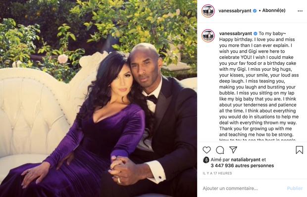 Vanessa Bryant publie un message à Kobe pour ce qui aurait été son 42e anniversaire, le 23 août 2020