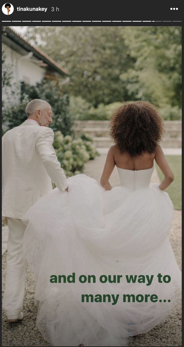 Tina et Vincent Cassel le jour de leur mariage le 24 août 2018
