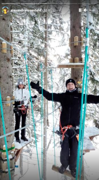 Alexandra Rosenfeld et Hugo Clément en vacances au ski, janvier 2021