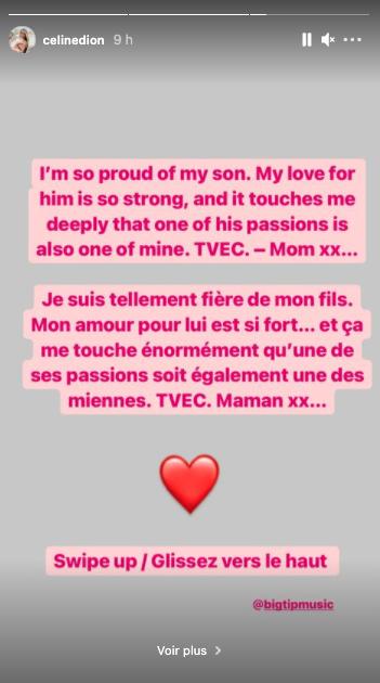 Céline Dion soutient la musique de son fils René-Charles, qui a publié en janvier 2021 son premier EP
