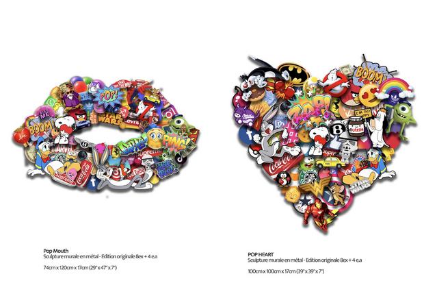 """""""Pop Mouth"""" et """"Pop Heart"""", deux oeuvres en trois dimensions de Chloé B."""