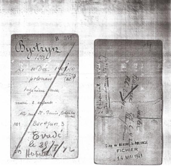 La fiche d'Iser Bystryn au camp de Beaune-la-Rolande.