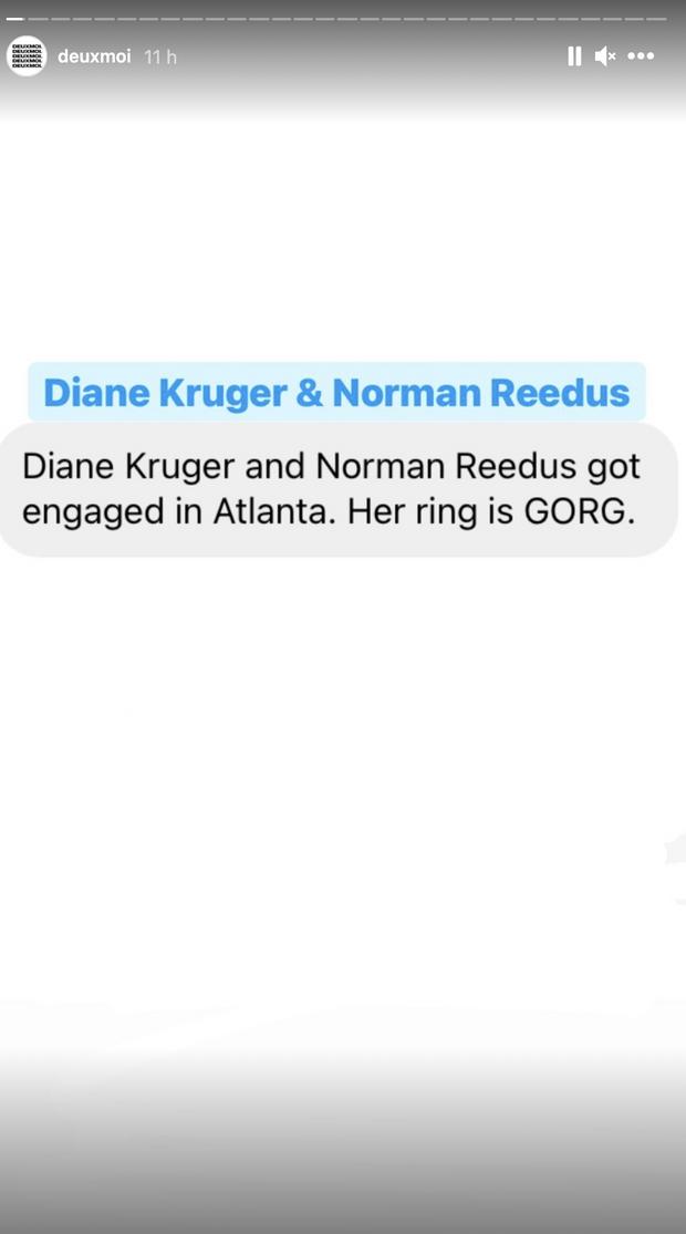 C'est le compte Instagram deuxmoi, réputé pour diffuser des informations vérifiées sur les people, qui a révélé les fiançailles de Diane Kruger et Norman Reedus