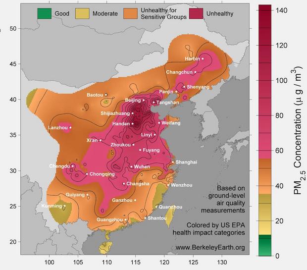 Schéma de la qualité de l'air en Chine.