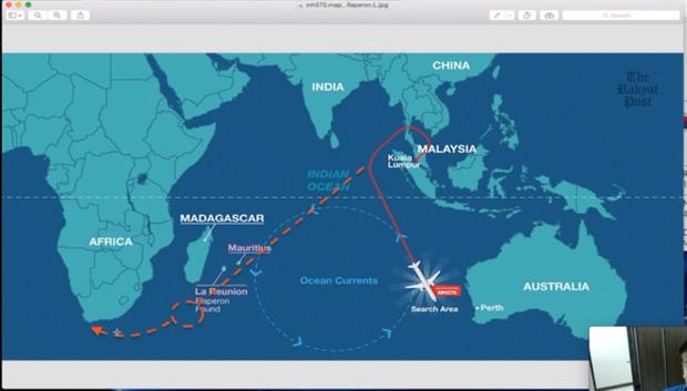 En pointillé la trajectoire supposée du vol MH370.